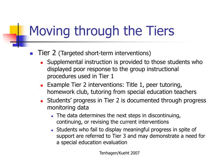 Moving through the Tiers