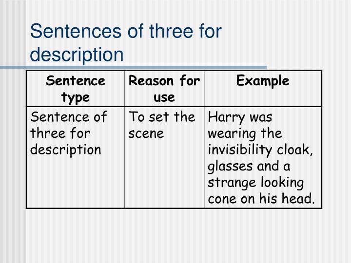 Sentences of three for description