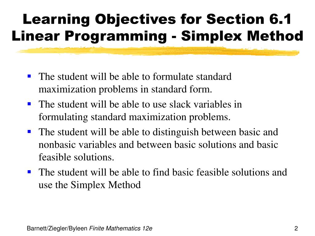 PPT - Chapter 6 Linear Programming: The Simplex Method PowerPoint