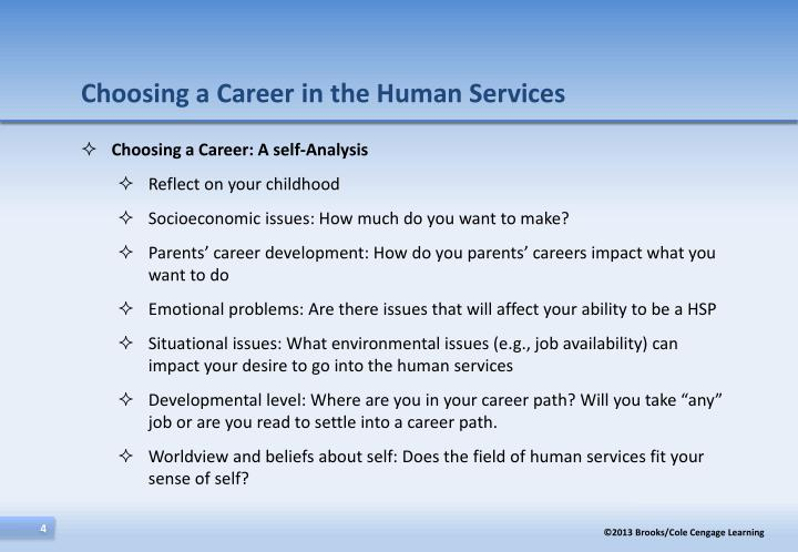 Choosing a Career in the Human Services