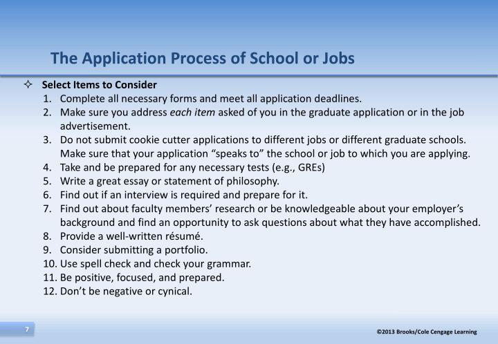 The Application Process of School or Jobs
