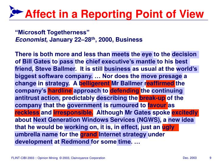 Affect in a Reporting Point of View