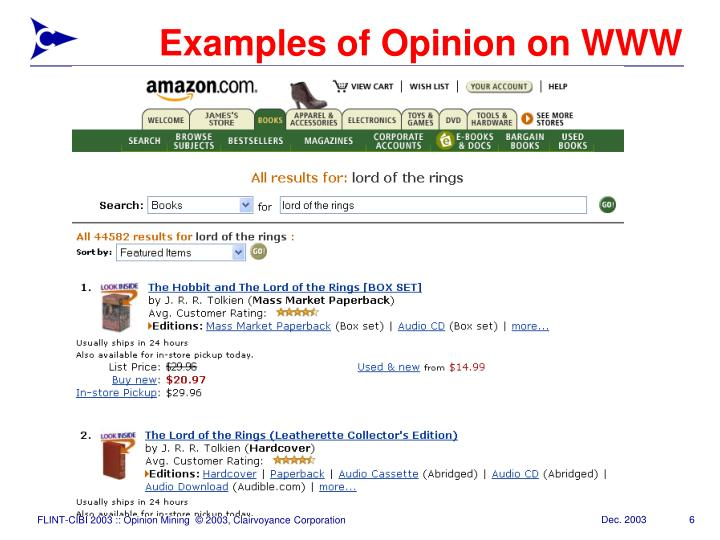 Examples of Opinion on WWW