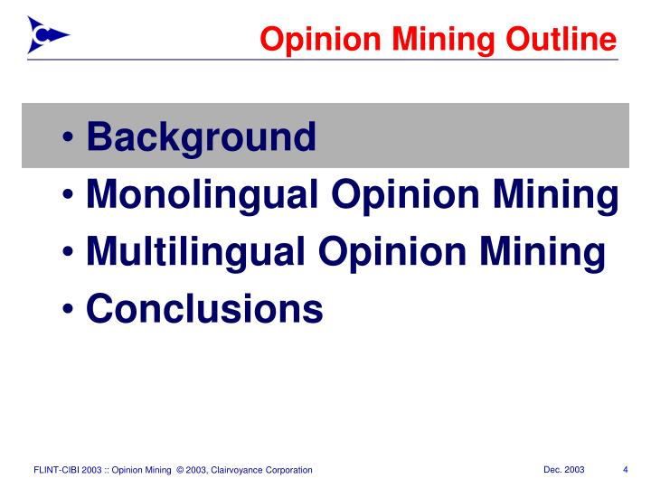 Opinion mining outline
