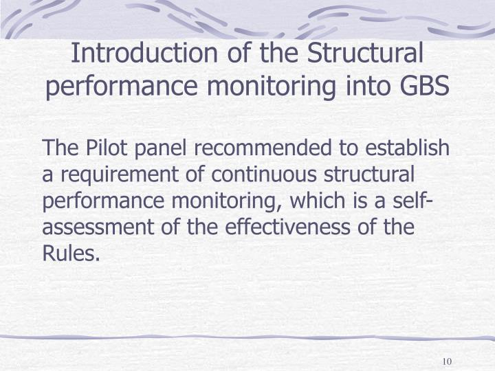 Introduction of the Structural performance monitoring into GBS