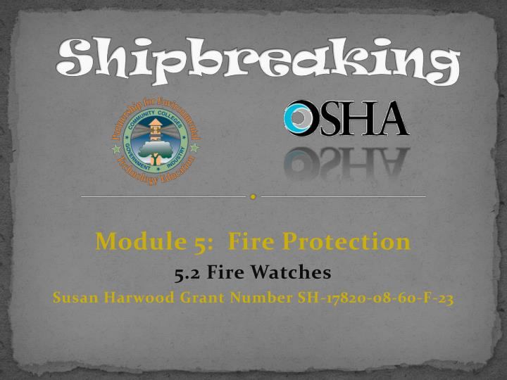 module 5 fire protection 5 2 fire watches susan harwood grant number sh 17820 08 60 f 23 n.