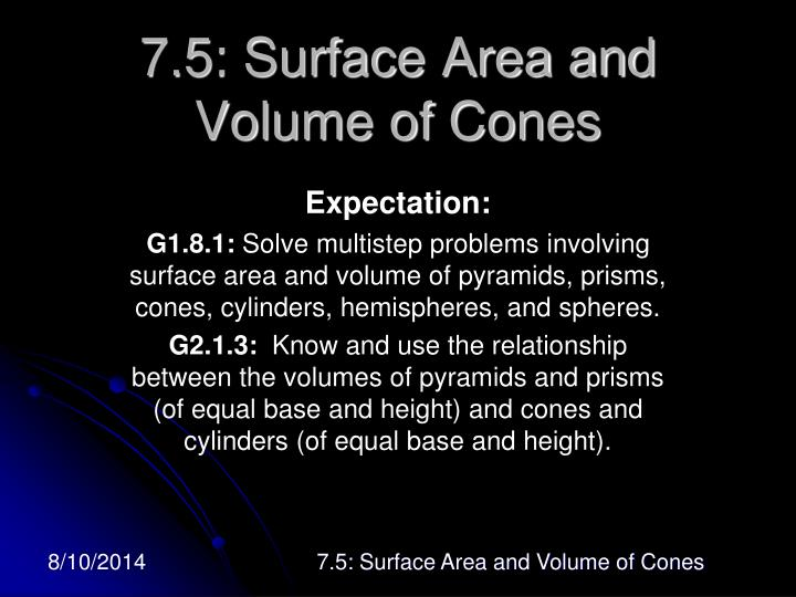 7 5 surface area and volume of cones n.