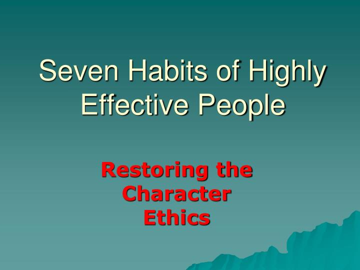 seven habits of highly effective people n.