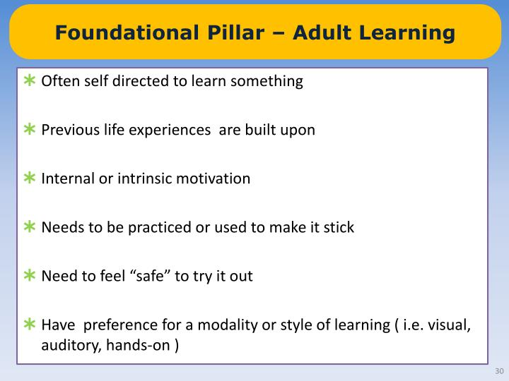 Foundational Pillar – Adult Learning