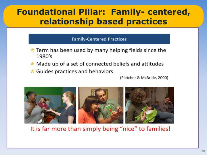 Foundational Pillar:  Family- centered, relationship based practices