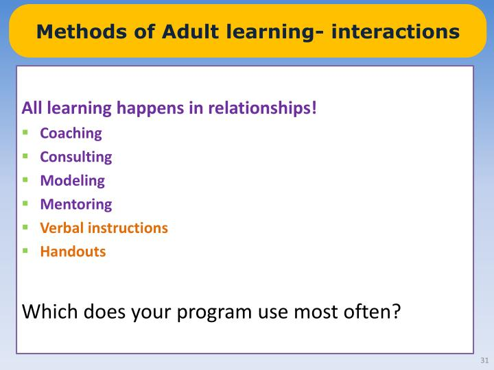 Methods of Adult learning- interactions