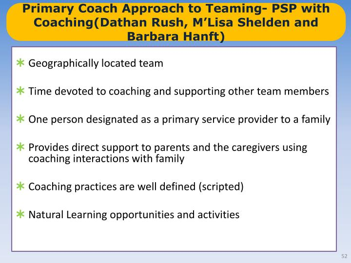 Primary Coach Approach to Teaming- PSP with Coaching(Dathan Rush, M'Lisa Shelden and Barbara Hanft)