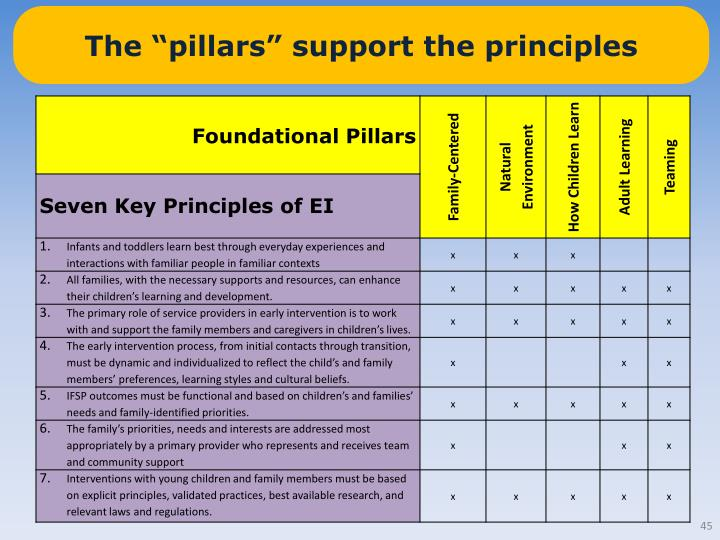 "The ""pillars"" support the principles"