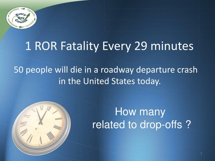 1 ROR Fatality Every 29 minutes