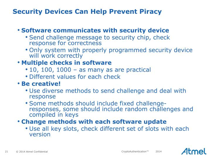 Software communicates with security device