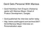 gord gets personal with marissa