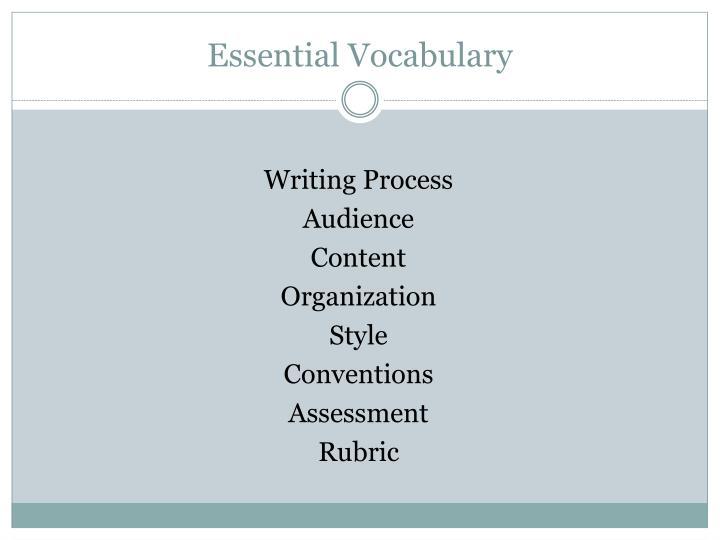 Essential vocabulary