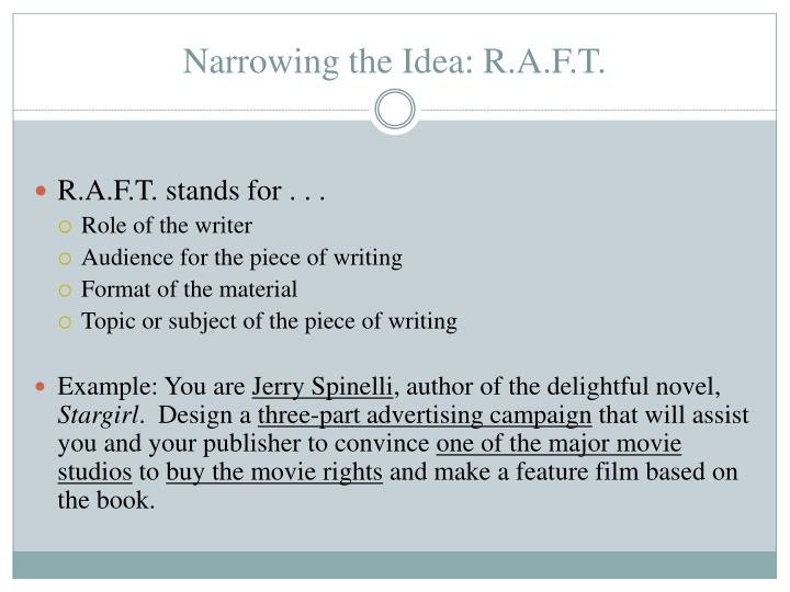 Narrowing the Idea: R.A.F.T.