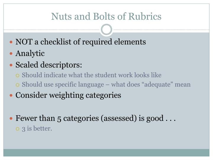 Nuts and Bolts of Rubrics