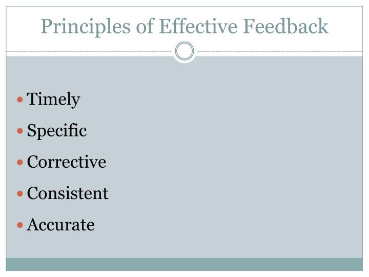 Principles of Effective Feedback