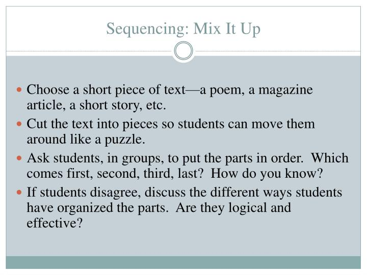 Sequencing: Mix It Up
