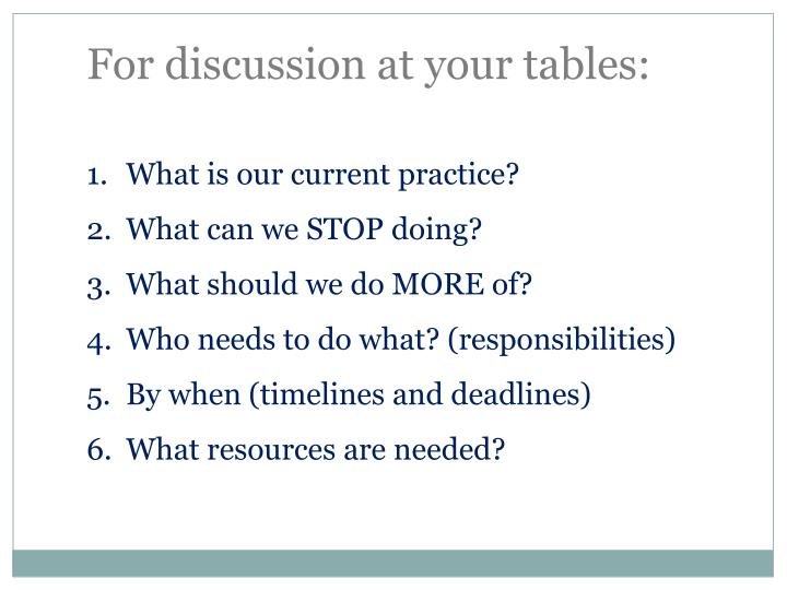 For discussion at your tables: