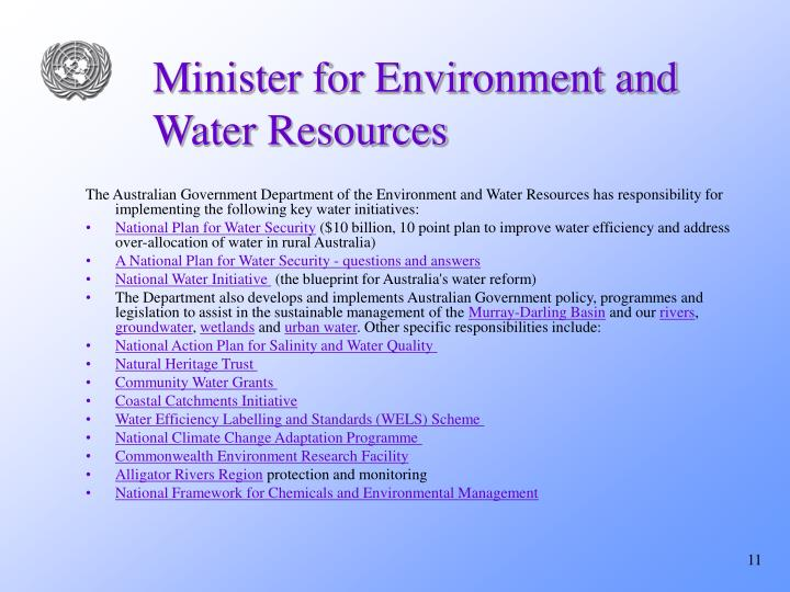 Minister for Environment and Water Resources