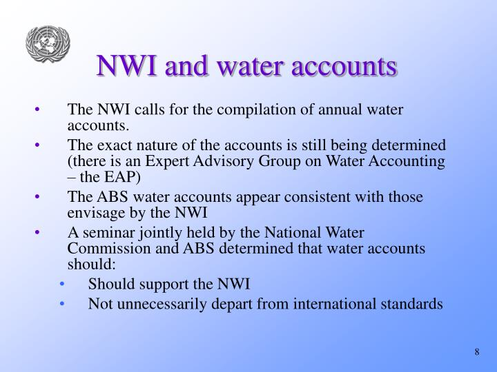 NWI and water accounts