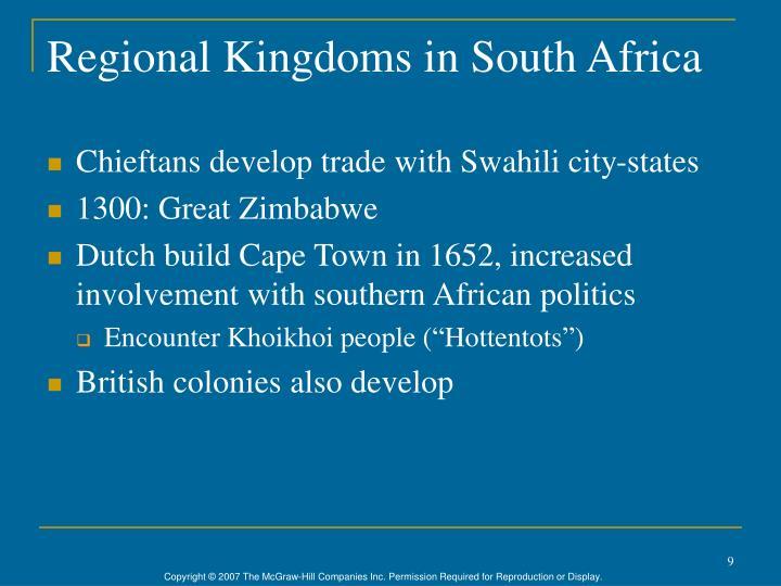 Regional Kingdoms in South Africa