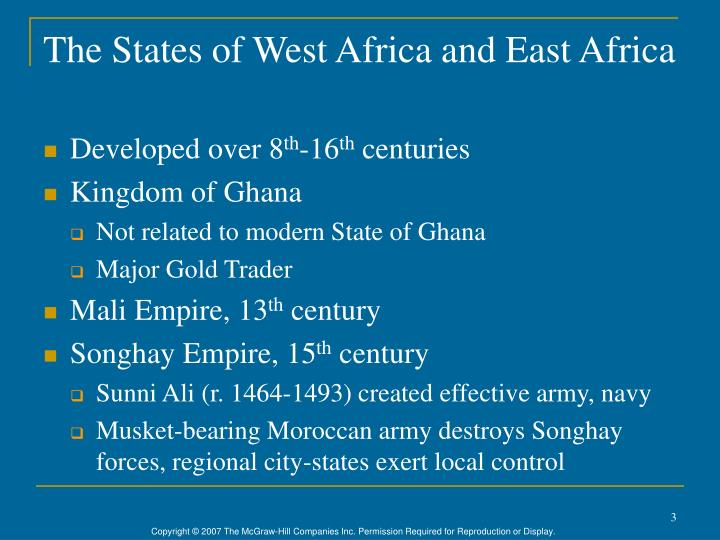 The states of west africa and east africa