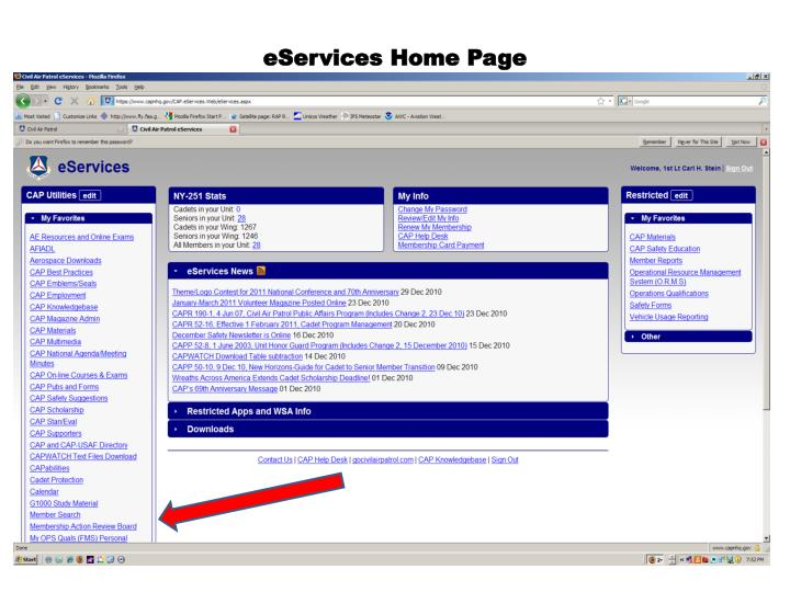 eServices Home Page