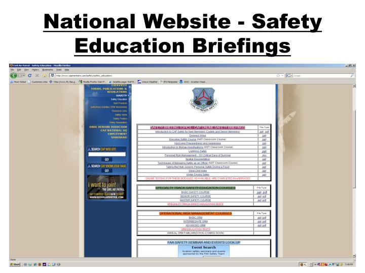 National Website - Safety Education Briefings