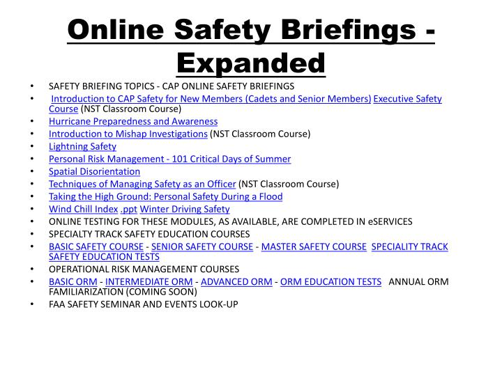 Online Safety Briefings - Expanded