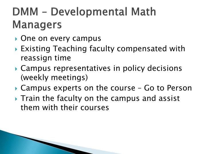 DMM – Developmental Math Managers