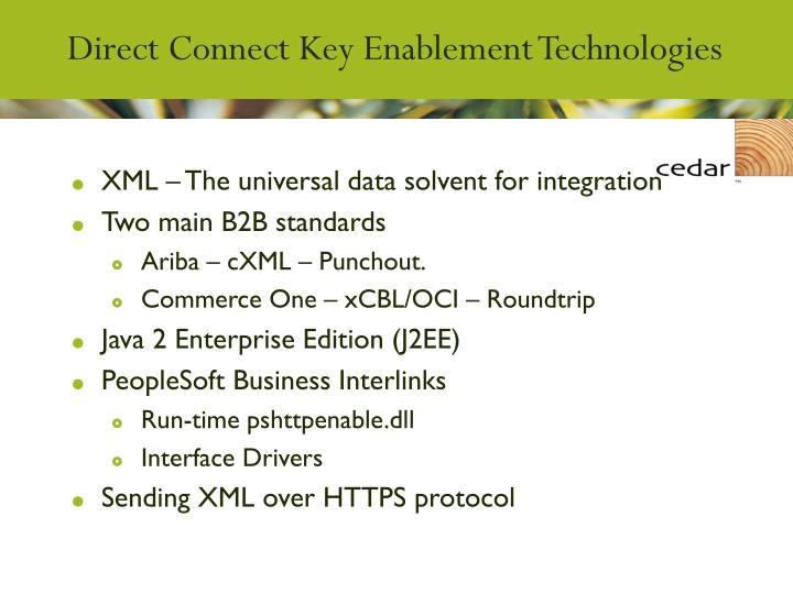 Direct Connect Key Enablement Technologies