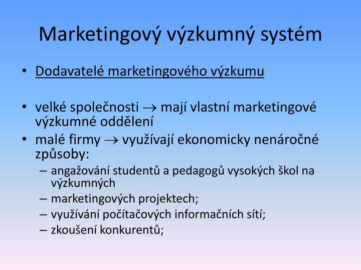 Marketingový výzkumný systém