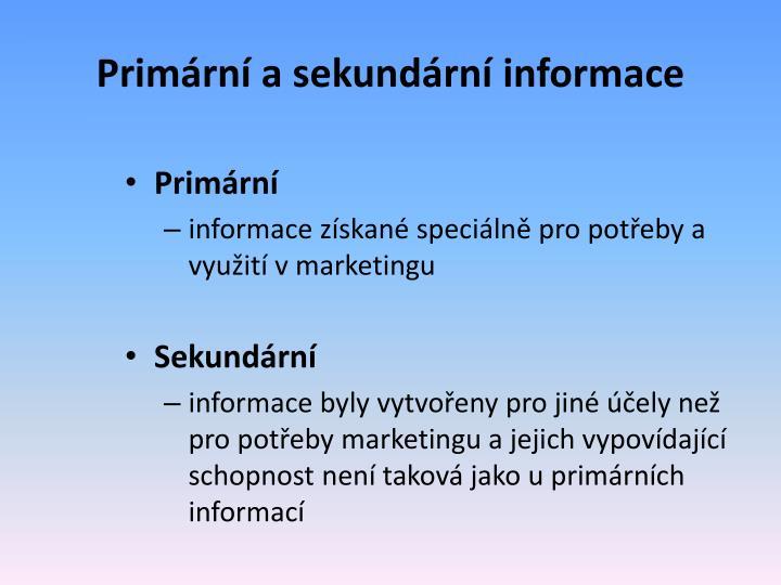 Primární a sekundární informace