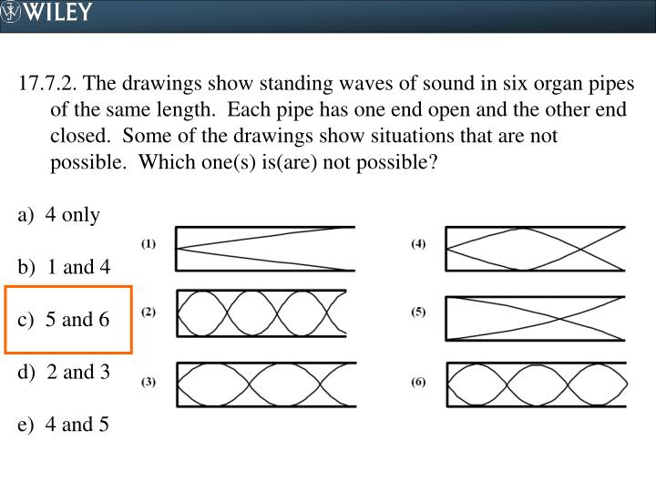 17.7.2. The drawings show standing waves of sound in six organ pipes of the same length.  Each pipe has one end open and the other end closed.  Some of the drawings show situations that are not possible.  Which one(s) is(are) not possible?
