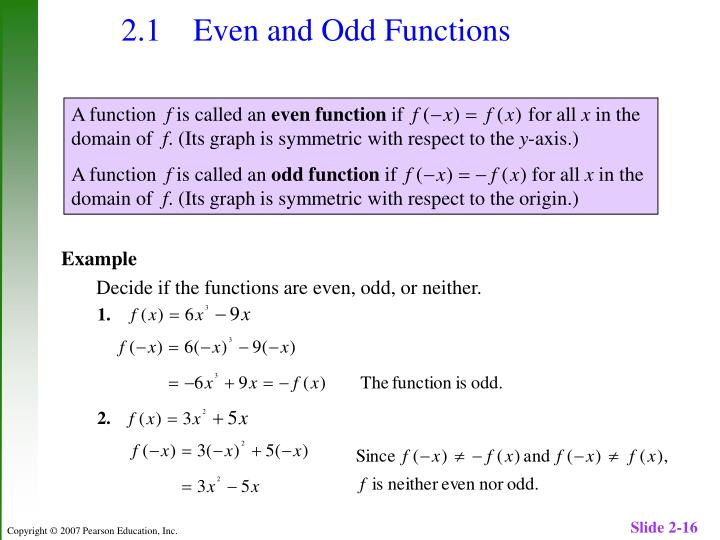 2.1 	Even and Odd Functions