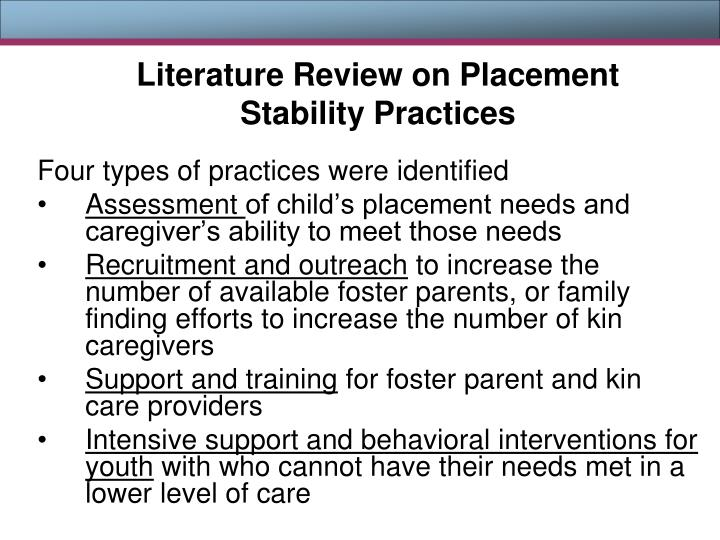 Literature Review on Placement