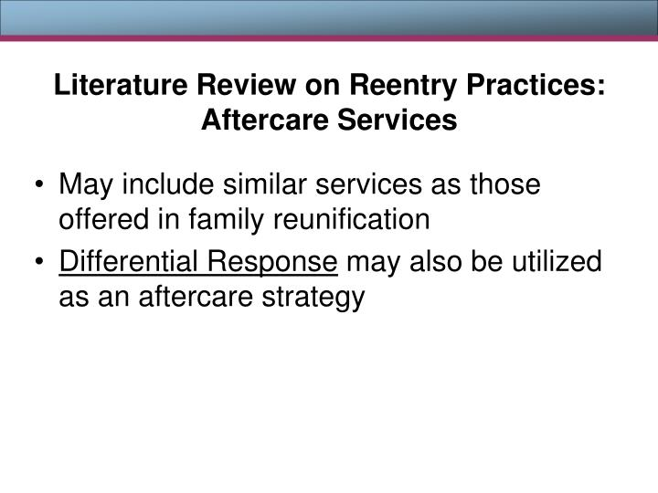 Literature Review on Reentry Practices: Aftercare Services