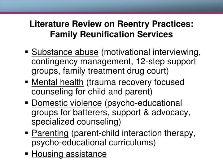 Literature Review on Reentry Practices: