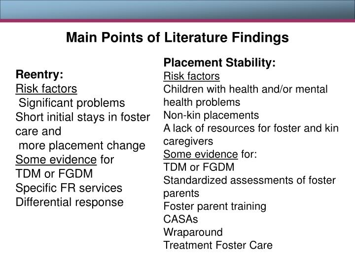 Main Points of Literature Findings