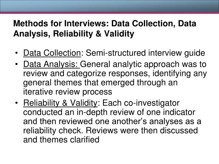 Methods for Interviews: Data Collection, Data Analysis, Reliability & Validity