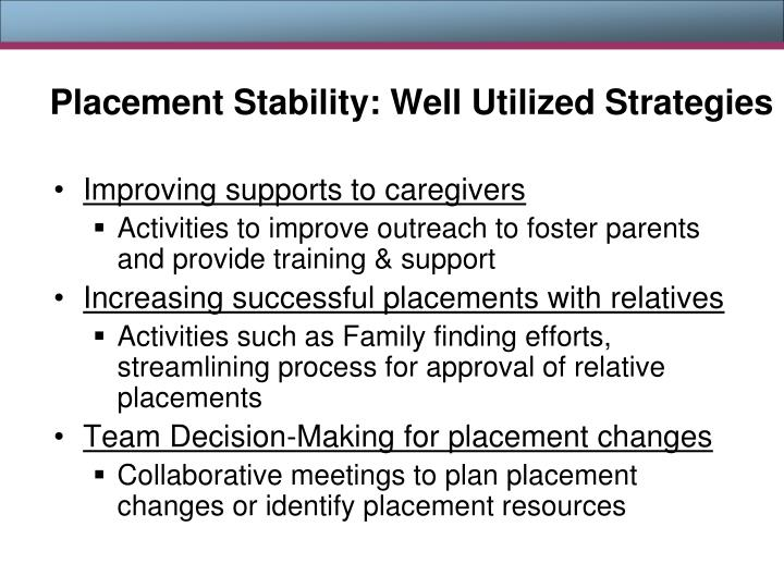Placement Stability: Well Utilized Strategies