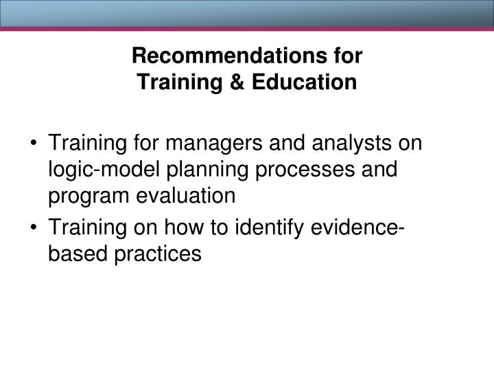 Recommendations for