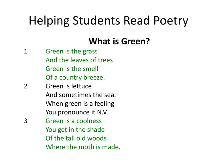 Helping Students Read Poetry