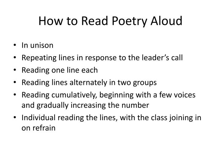 How to Read Poetry Aloud