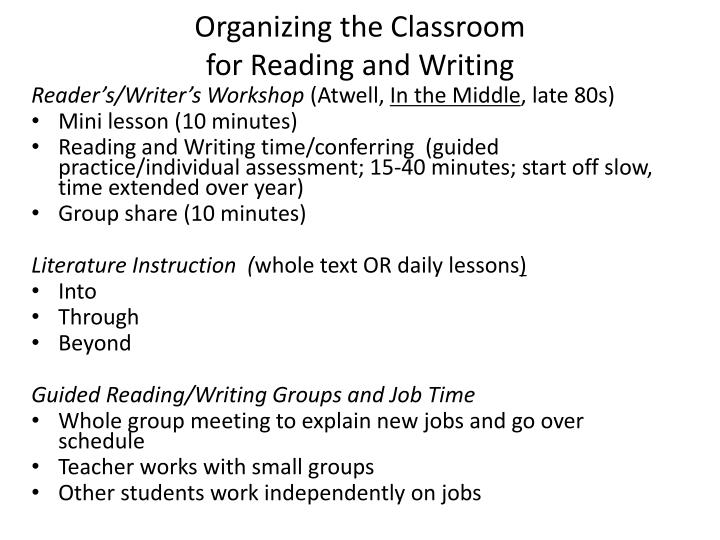 Organizing the Classroom