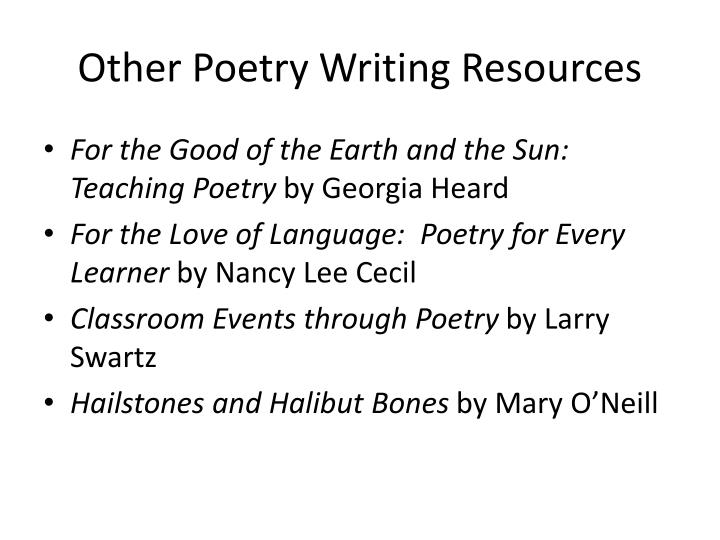 Other Poetry Writing Resources